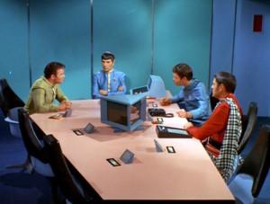 Senior Officers of the Enterprise: William Shatner, Leonard Nimoy, DeForest Kelley, and James Doohan.