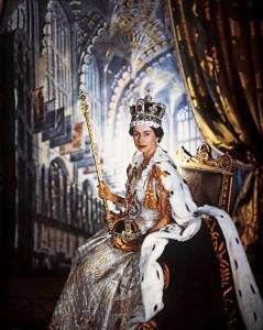Queen Elizabeth II at her coronation in 1952.